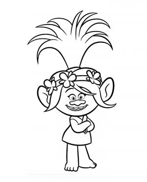 Принцесса Розочка Тролли раскраска