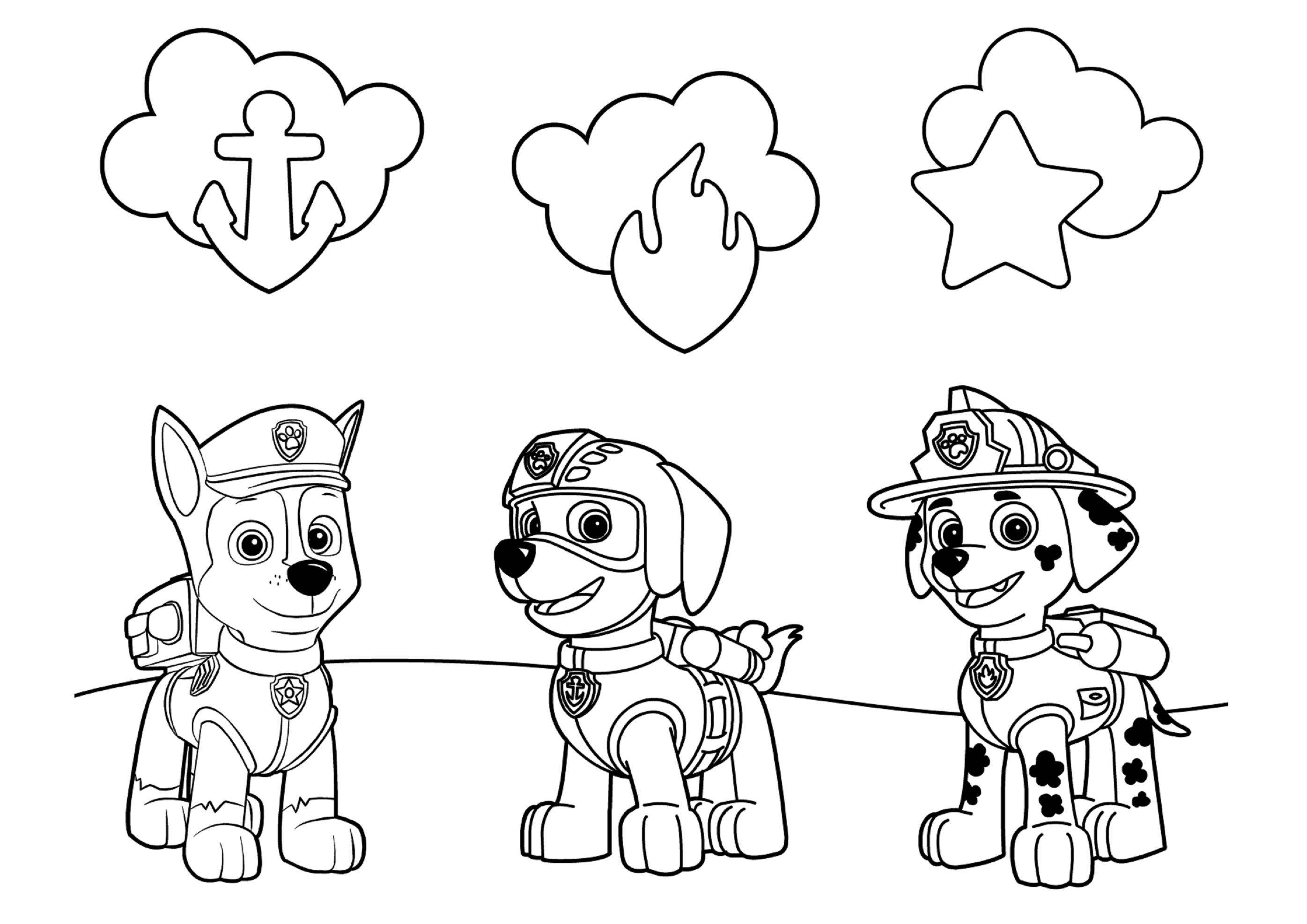 Раскраска щенячий патруль а4